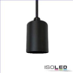 E27 Fassung schwarz mit schwarzem Kabel 160cm