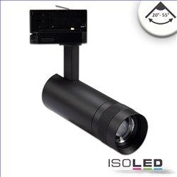 3-PH Schienen-Strahler fokussierbar, 8W, 20°-55°, schwarz matt, neutralweiss 4000K