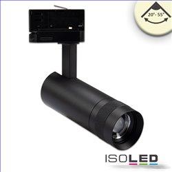 3-PH Schienen-Strahler fokussierbar, 8W, 20°-55°, schwarz matt, warmweiss 3000K