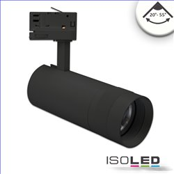 3-PH Schienen-Strahler fokussierbar, 24W, 20°-55°, schwarz matt, neutralweiss 4000K