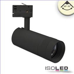 3-PH Schienen-Strahler fokussierbar, 24W, 20°-55°, schwarz matt, warmweiss 3000K