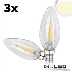 E14 LED Kerze, 4W, klar, warmweiß, 3er Pack