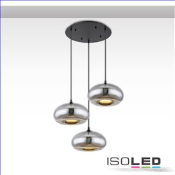 Hängeleuchte Metall schwarz, oval, Glas chrom, 3xE27 Fassung, exkl. Leuchtmittel