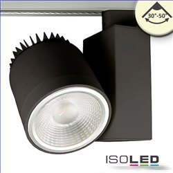 3-PH Schienen-Strahler fokussierbar, 36W, 30°-50°, schwarz matt, 3000K, CRI92, DALI dimmbar